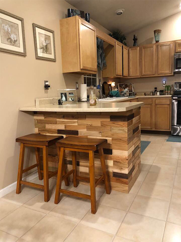 Mixed species Woodbricks kitchen island