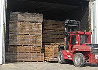 Stacks of kiln dried lumber