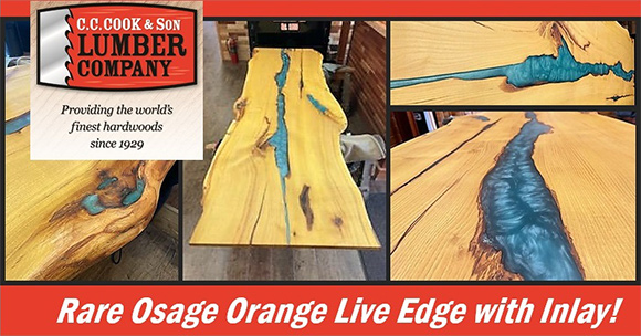 Several photos of rare osage orange live edge with inlay